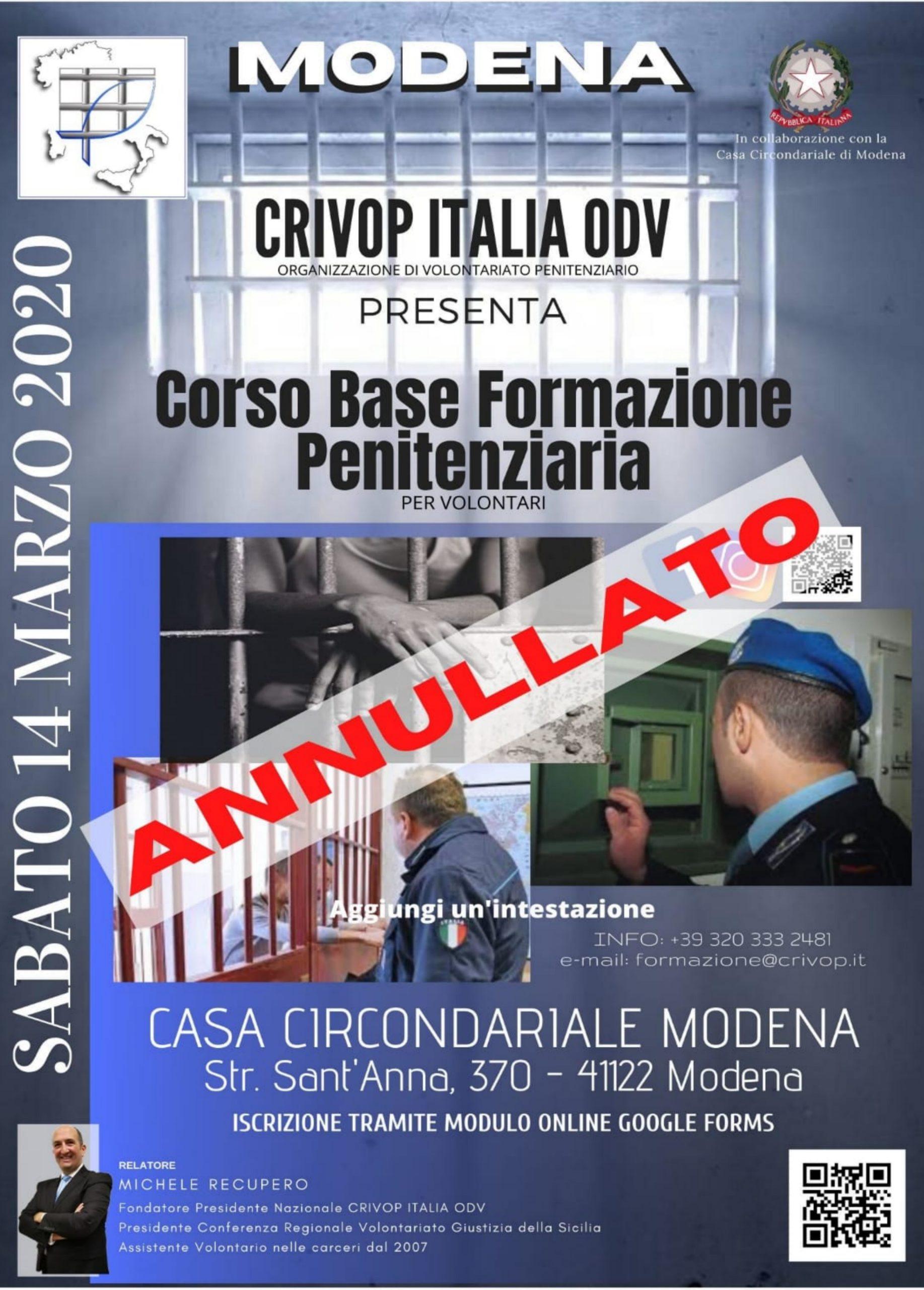 Corso Base Formazione Penitenziaria – Modena